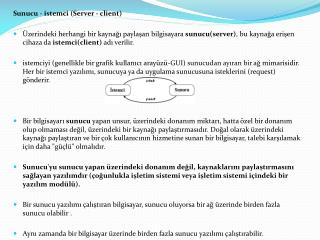 Sunucu - istemci (Server - client)