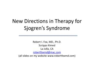 New Directions in Therapy for Sjogren's Syndrome