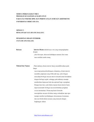 MODUL PERKULIAHAN TRD I PROGRAM KULIAH KELAS KARYAWAN