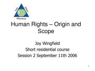 Human Rights – Origin and Scope