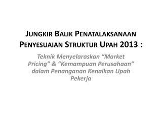 Jungkir Balik Penatalaksanaan Penyesuaian Struktur Upah  2013 :