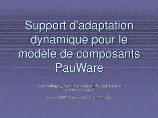 Support d'adaptation dynamique pour le modèle de composants PauWare