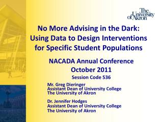 No More Advising in the Dark: Using Data to Design Interventions for Specific Student Populations