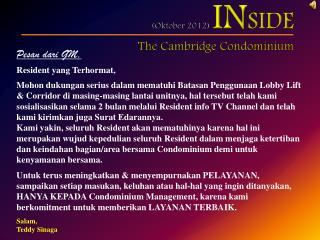 ( Oktober 2012)  IN SIDE The Cambridge Condominium