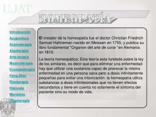 Introducci n Acupuntura Aromaterapia Algoterapia Arte-terapia  Musicoterapia Cromatoterapia Feng.Shui Risoterapia Hipnos