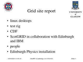 Grid site report