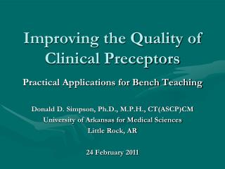 Improving the Quality of Clinical Preceptors