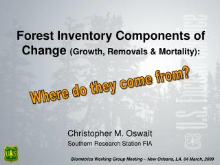 Forest Inventory Components of Change Growth, Removals  Mortality: