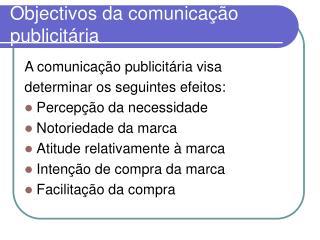 Objectivos da comunicação publicitária