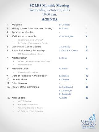 SOLES Monthly Meeting Wednesday, October 2, 2013 10:00 a.m. Agenda