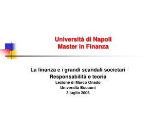 Universit� di Napoli Master in Finanza