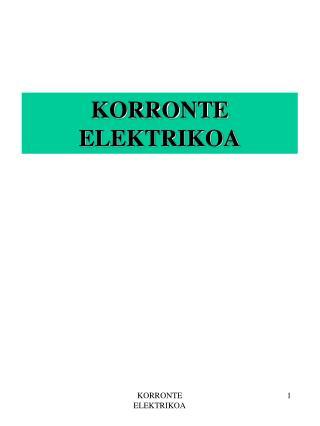 KORRONTE ELEKTRIKOA