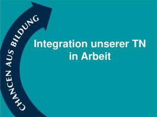 Integration unserer TN  in Arbeit