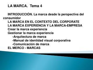 LA MARCA.  Tema 4 INTRODUCCIÓN. La marca desde la perspectiva del consumidor