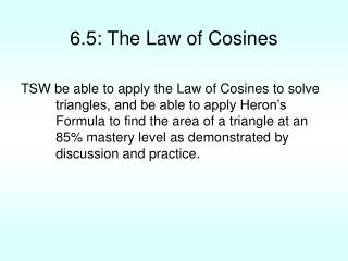 6.5: The Law of Cosines