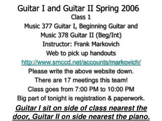 Guitar I and Guitar II Spring 2006