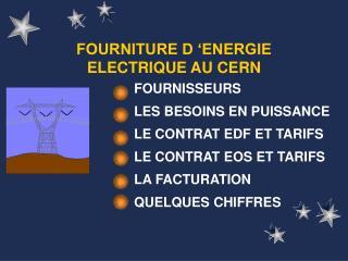 FOURNITURE D  ENERGIE ELECTRIQUE AU CERN