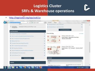 Logistics Cluster  SRFs & Warehouse operations