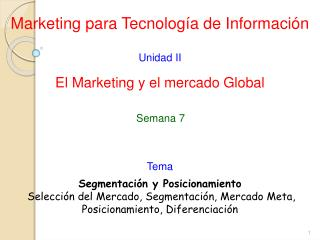 Marketing para Tecnología de Información