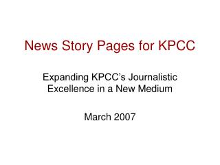 News Story Pages for KPCC