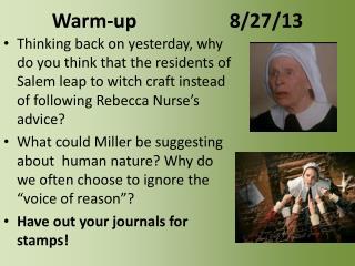 Warm-up 8/27/13