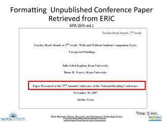 Formatting ERIC ED Unpublished Conference Papers