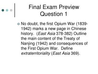 Final Exam Preview Question 1