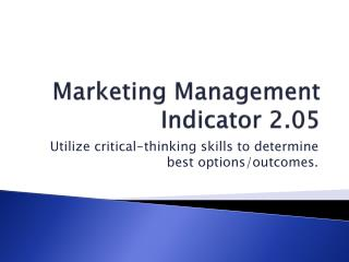Marketing Management Indicator 2.05