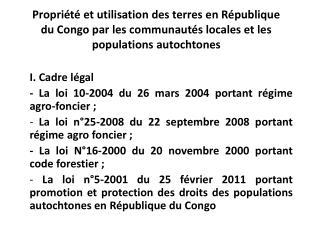 Propri t  et utilisation des terres en R publique du Congo par les communaut s locales et les populations autochtones