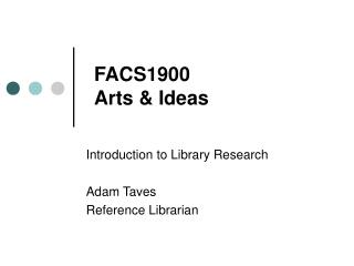 FACS1900 Arts & Ideas