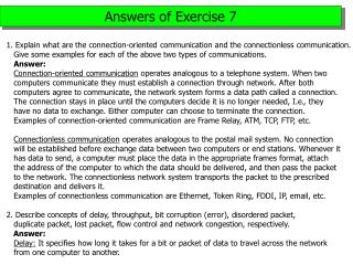 Answers of Exercise 7