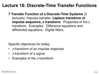 Lecture 18: Discrete-Time Transfer Functions