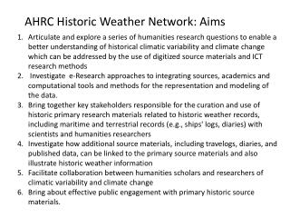 AHRC Historic Weather Network: Aims
