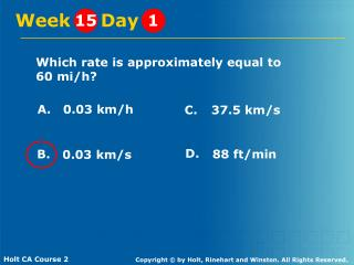 Which rate is approximately equal to 60 mi/h?