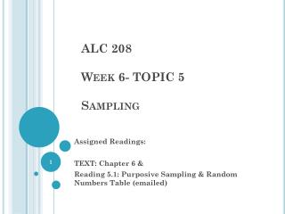 ALC 208 Week 6- TOPIC 5 Sampling