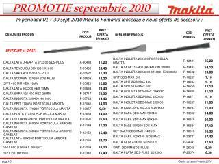 In perioada 01 ÷ 30 sept.2010 Makita Romania lanseaza o noua oferta de accesorii :