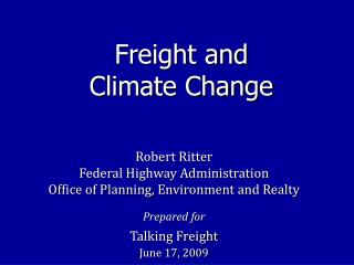 Freight and  Climate Change