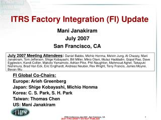 ITRS Factory Integration (FI) Update