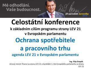 Celostátní konference k základním cílům programu strany LEV 21 vEvropském parlamentu