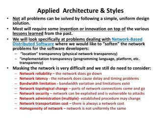 Applied  Architecture & Styles