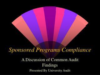 Sponsored Programs Compliance