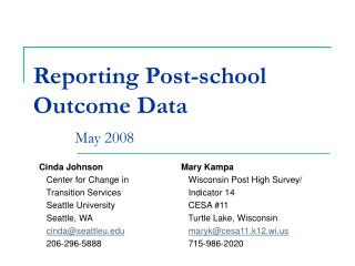 Reporting Post-school Outcome Data May 2008
