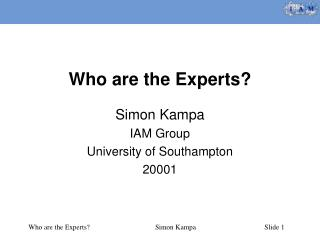 Who are the Experts?