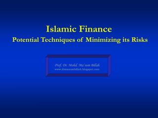 Islamic Finance Potential Techniques of Minimizing its Risks