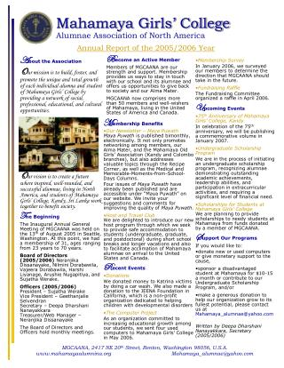 Mahamaya Girls� College Alumnae Association of North America Annual Report of the 2005/2006 Year