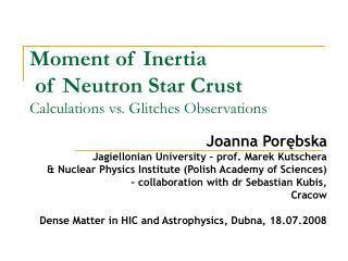 Moment of Inertia  of Neutron Star Crust Calculations vs. Glitches Observations