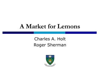 A Market for Lemons