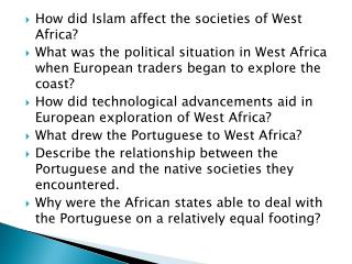 How did Islam affect the societies of West Africa?