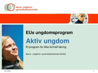 EUs ungdomsprogram Aktiv ungdom Et program for ikke-formell læring
