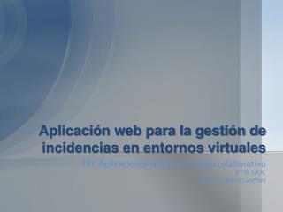 Aplicaci ó n web para la gestión de incidencias en entornos virtuales
